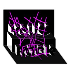 Neon purple abstraction You Rock 3D Greeting Card (7x5)