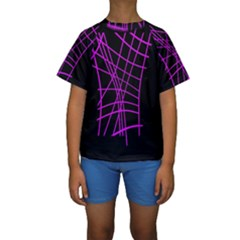 Neon purple abstraction Kid s Short Sleeve Swimwear