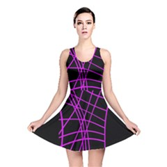 Neon purple abstraction Reversible Skater Dress