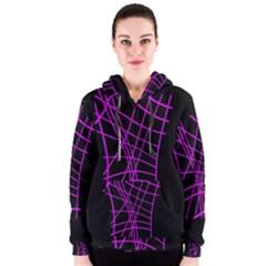 Neon purple abstraction Women s Zipper Hoodie