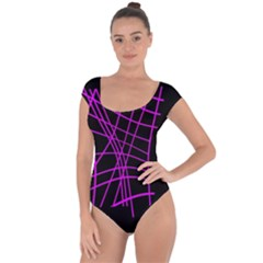 Neon purple abstraction Short Sleeve Leotard
