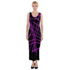 Neon purple abstraction Fitted Maxi Dress