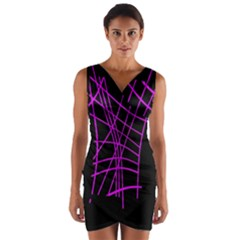 Neon purple abstraction Wrap Front Bodycon Dress