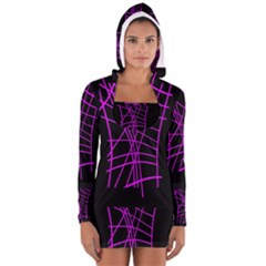 Neon Purple Abstraction Women s Long Sleeve Hooded T Shirt