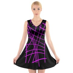 Neon Purple Abstraction V Neck Sleeveless Skater Dress