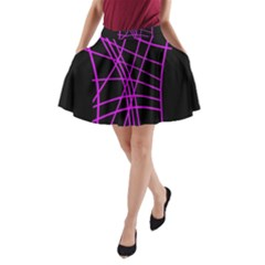 Neon Purple Abstraction A Line Pocket Skirt