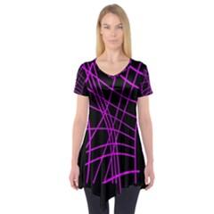 Neon purple abstraction Short Sleeve Tunic