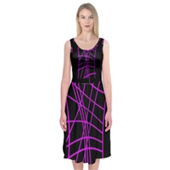 Neon Purple Abstraction Midi Sleeveless Dress