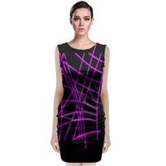 Neon Purple Abstraction Classic Sleeveless Midi Dress