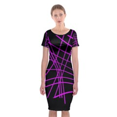 Neon Purple Abstraction Classic Short Sleeve Midi Dress