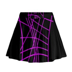 Neon Purple Abstraction Mini Flare Skirt