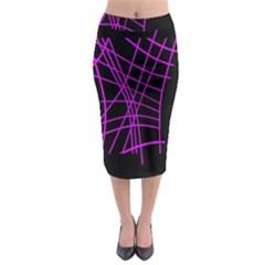 Neon Purple Abstraction Midi Pencil Skirt