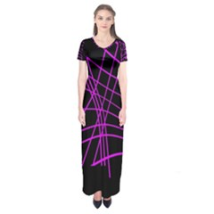 Neon Purple Abstraction Short Sleeve Maxi Dress