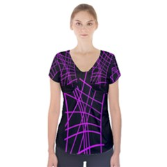 Neon Purple Abstraction Short Sleeve Front Detail Top