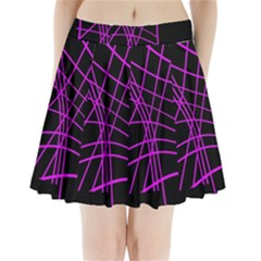Neon Purple Abstraction Pleated Mini Mesh Skirt