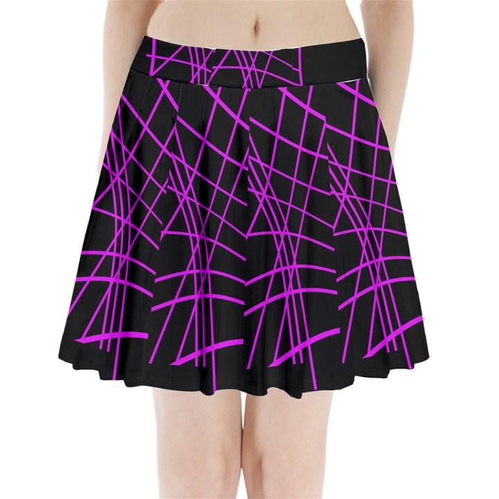 Neon purple abstraction Pleated Mini Mesh Skirt