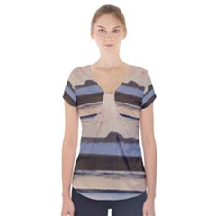 Bamburgh Paint Short Sleeve Front Detail Top