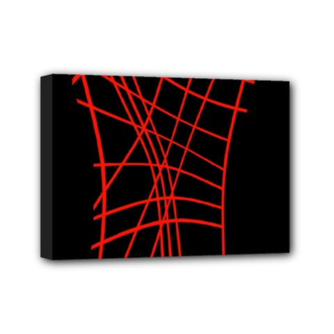 Neon red abstraction Mini Canvas 7  x 5