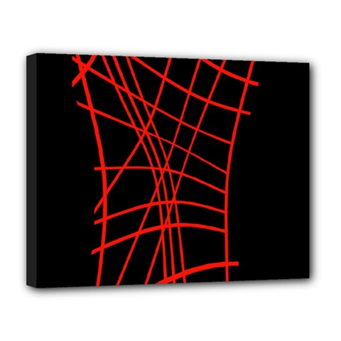Neon red abstraction Canvas 14  x 11