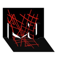 Neon red abstraction I Love You 3D Greeting Card (7x5)