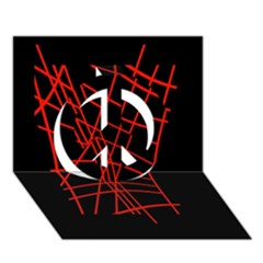 Neon red abstraction Peace Sign 3D Greeting Card (7x5)