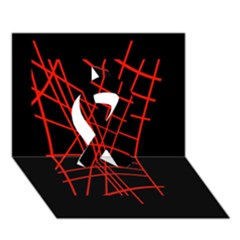 Neon red abstraction Ribbon 3D Greeting Card (7x5)