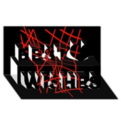 Neon red abstraction Best Wish 3D Greeting Card (8x4)