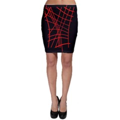 Neon red abstraction Bodycon Skirt