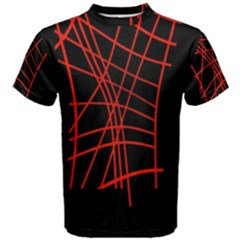 Neon red abstraction Men s Cotton Tee