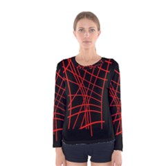 Neon red abstraction Women s Long Sleeve Tee