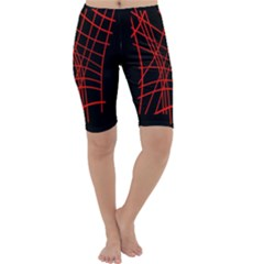 Neon red abstraction Cropped Leggings