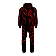 Neon red abstraction Hooded Jumpsuit (Kids)
