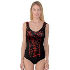 Neon Red Abstraction Princess Tank Leotard