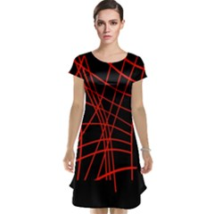 Neon red abstraction Cap Sleeve Nightdress