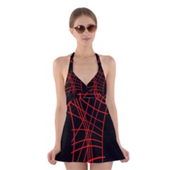 Neon red abstraction Halter Swimsuit Dress