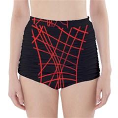 Neon Red Abstraction High Waisted Bikini Bottoms