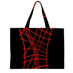 Neon Red Abstraction Zipper Large Tote Bag