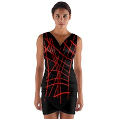 Neon red abstraction Wrap Front Bodycon Dress
