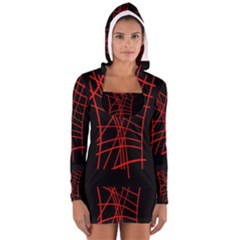 Neon Red Abstraction Women s Long Sleeve Hooded T Shirt