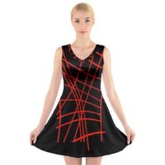 Neon red abstraction V-Neck Sleeveless Skater Dress
