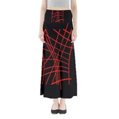Neon red abstraction Maxi Skirts