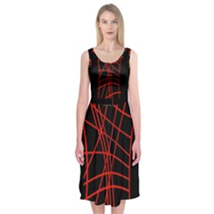 Neon Red Abstraction Midi Sleeveless Dress