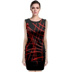 Neon Red Abstraction Classic Sleeveless Midi Dress