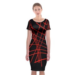 Neon Red Abstraction Classic Short Sleeve Midi Dress