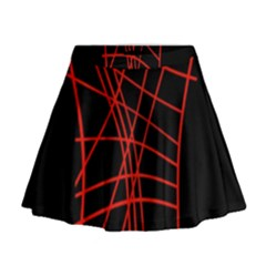 Neon Red Abstraction Mini Flare Skirt