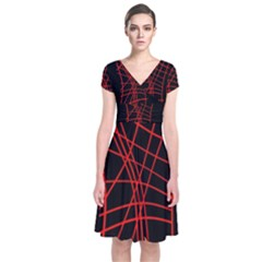 Neon Red Abstraction Short Sleeve Front Wrap Dress