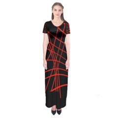Neon Red Abstraction Short Sleeve Maxi Dress