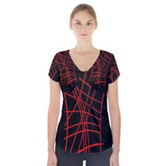 Neon Red Abstraction Short Sleeve Front Detail Top