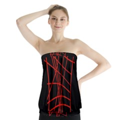 Neon Red Abstraction Strapless Top
