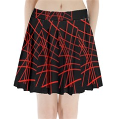 Neon Red Abstraction Pleated Mini Mesh Skirt
